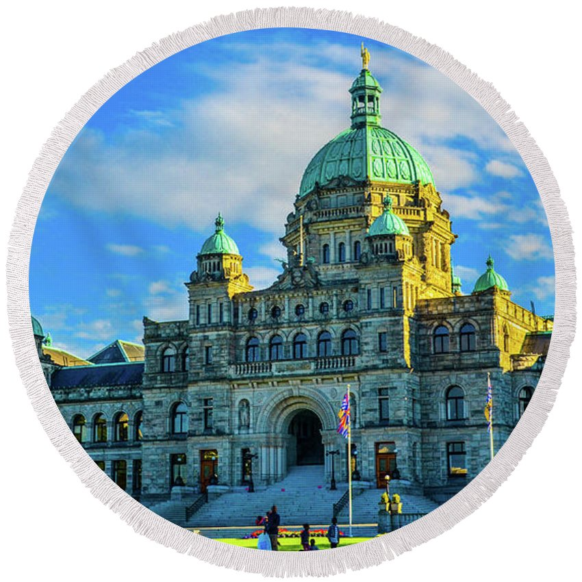 Buildings Round Beach Towel featuring the photograph Parliament Victoria BC by Jason Brooks