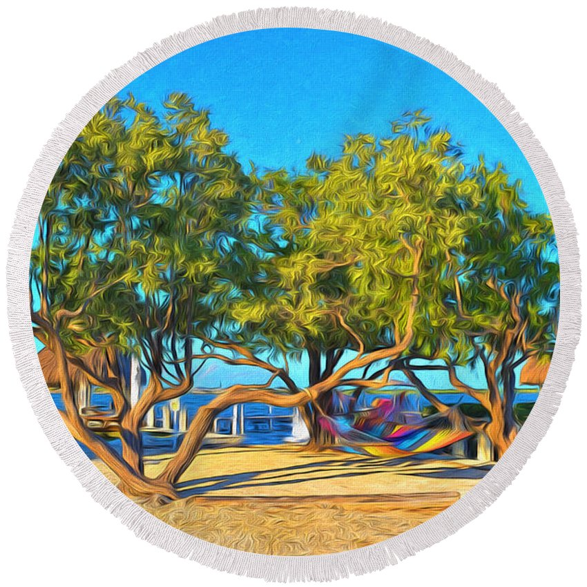 Parmer's Round Beach Towel featuring the photograph Parmer's Resort At Little Torch Key by Ginger Wakem