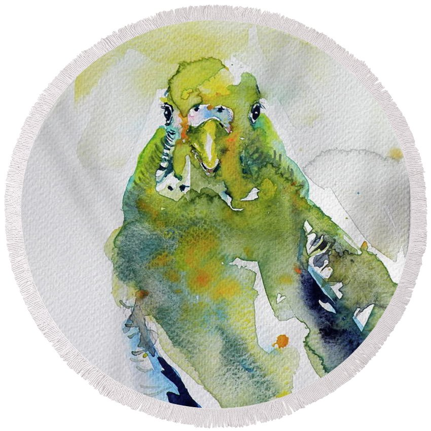 Bird Round Beach Towel featuring the painting Parrot by Kovacs Anna Brigitta