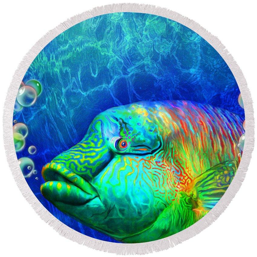 Carol Cavalaris Round Beach Towel featuring the mixed media Parrotfish - Rainbow Spirit by Carol Cavalaris