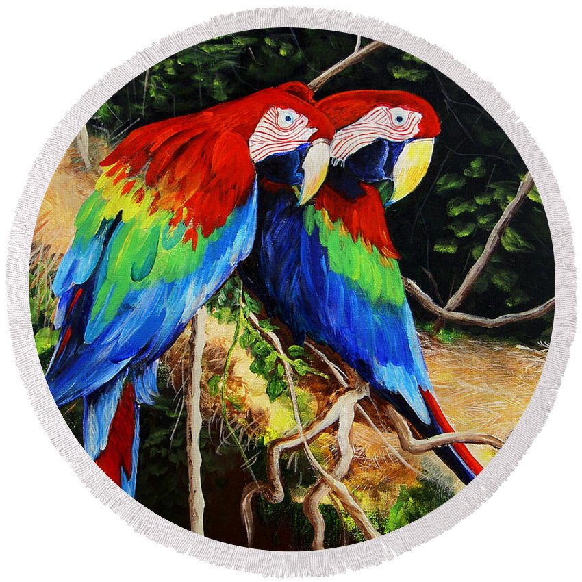 Blue Round Beach Towel featuring the painting Parrots In The Jungle by Dominica Alcantara