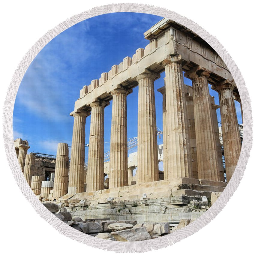 Acropolis Round Beach Towel featuring the photograph Parthenon On Acropolis In Athens Greece by Susan Vineyard