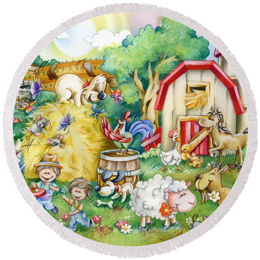 Farm Round Beach Towel featuring the drawing Party At The Farm by Patrick Hoenderkamp