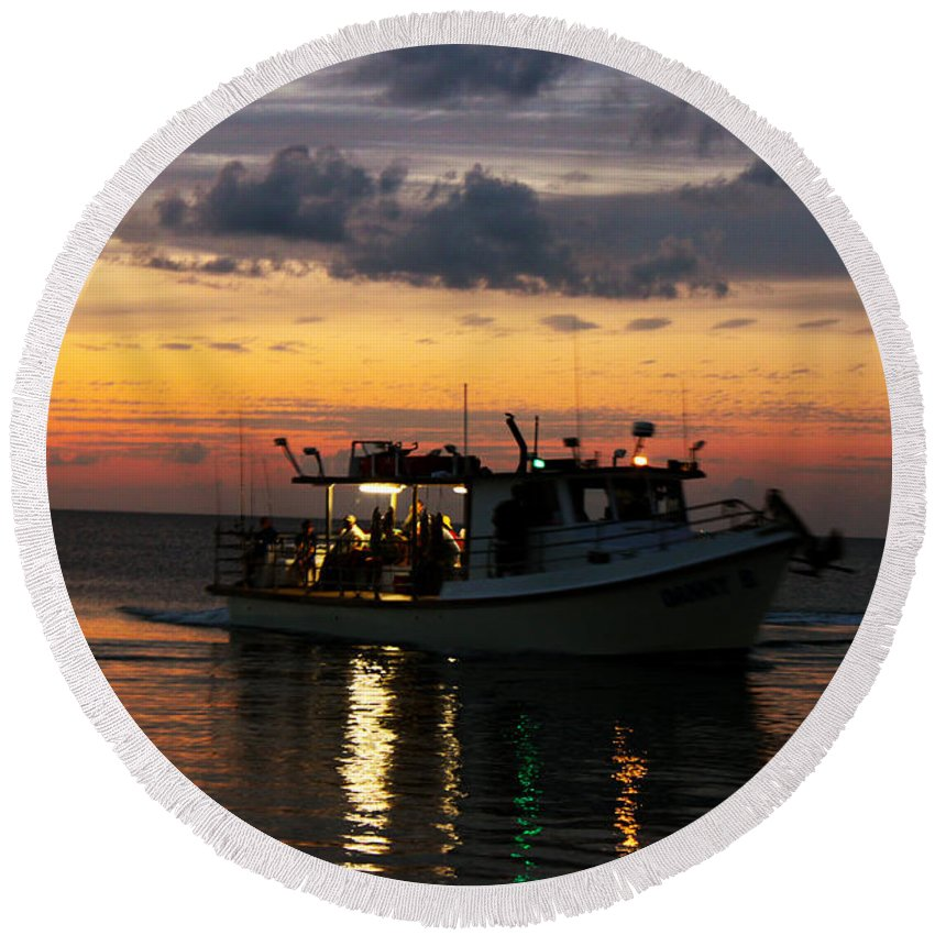 Party Boat Round Beach Towel featuring the photograph Party Boat by Susan Vineyard