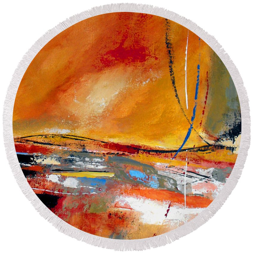 Abstract Round Beach Towel featuring the painting Party Lines by Ruth Palmer