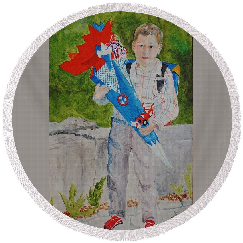School Round Beach Towel featuring the painting Pascals First Day At School 2004 by Helmut Rottler