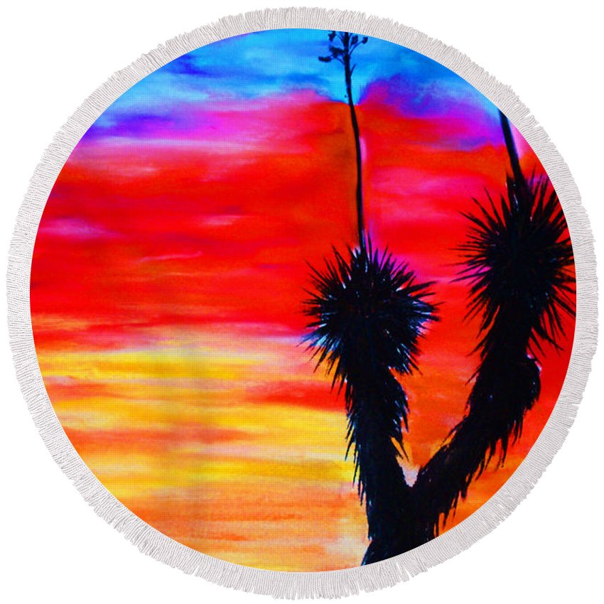 Sunset Round Beach Towel featuring the painting Paso Del Norte Sunset 1 by Melinda Etzold