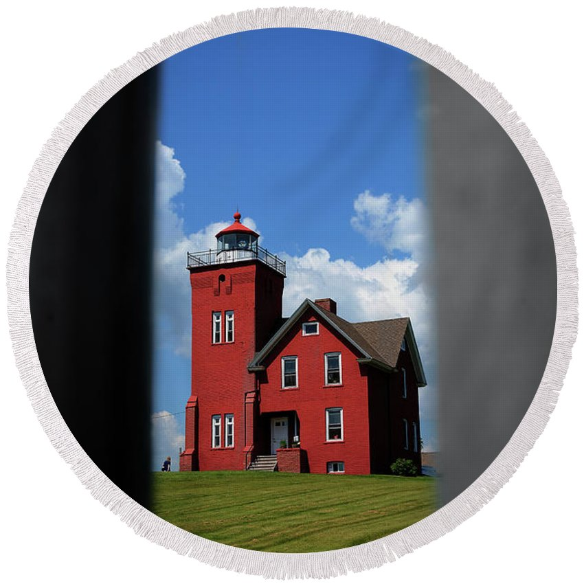 Lake Round Beach Towel featuring the photograph Passageway To The Two Harbors Lighthouse by Deborah Klubertanz
