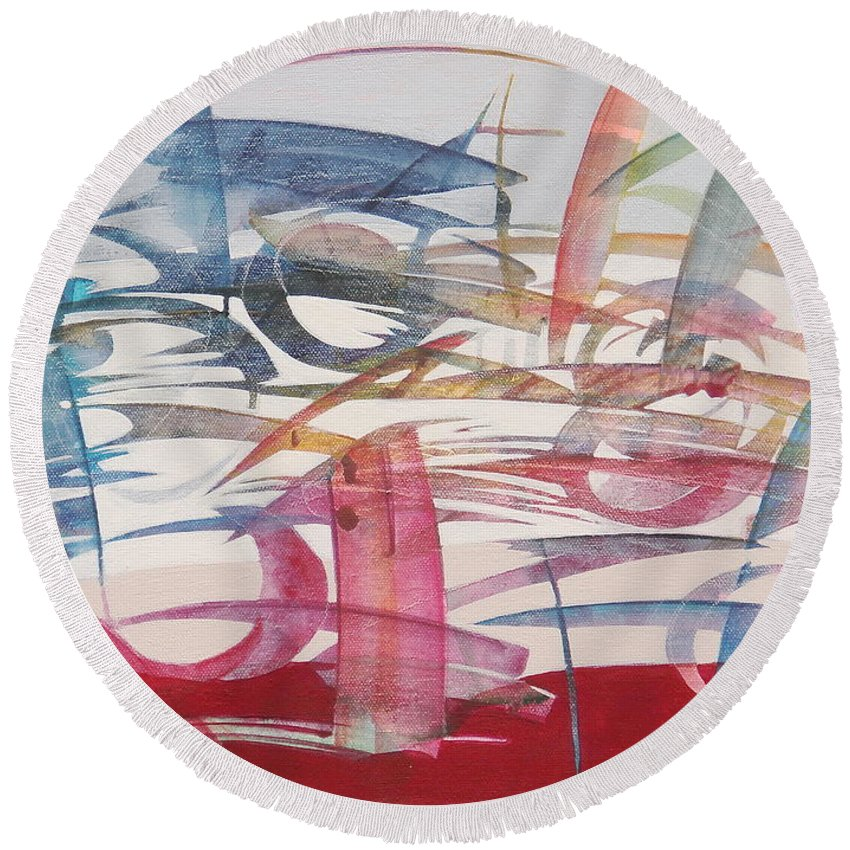 Acrylic On Canvas Round Beach Towel featuring the painting Passeggiata In Bicicletta  by Giovanna Mancuso