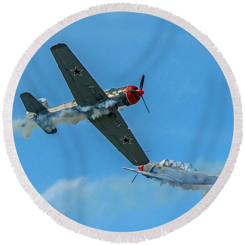 Planes Round Beach Towel featuring the photograph Passing By by Stephen Whalen