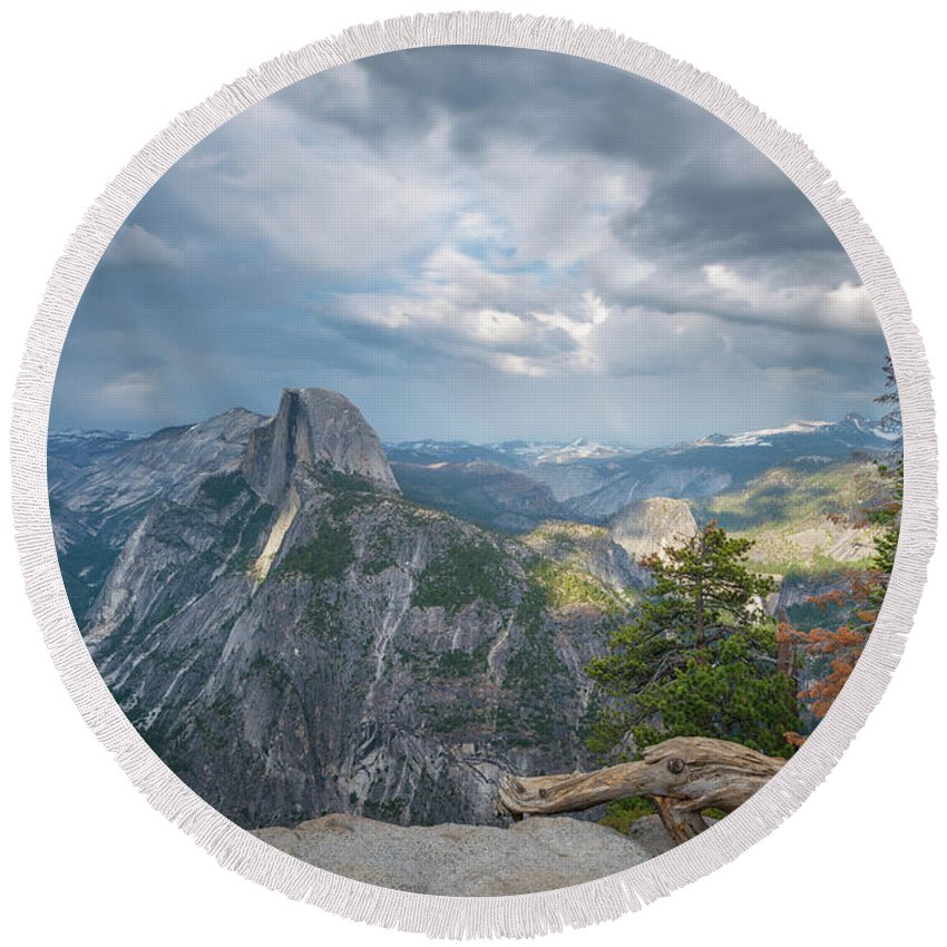 Yosemite Valley Round Beach Towel featuring the photograph Passing Clouds Over Half Dome by Michael Ver Sprill