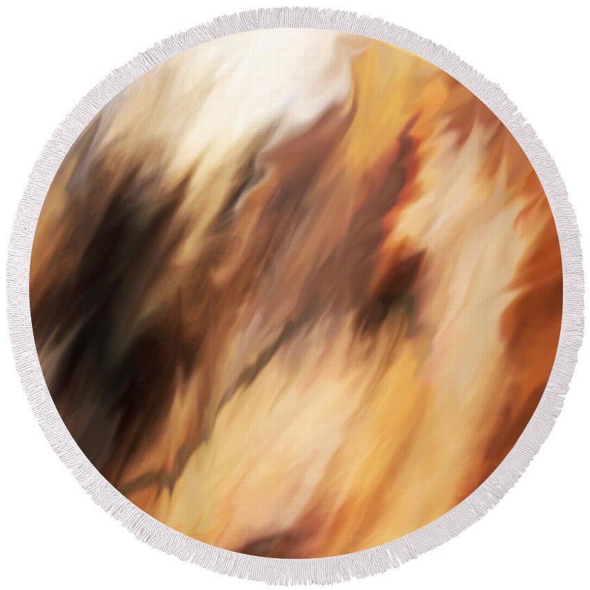 Abstract Round Beach Towel featuring the painting Passing Through by Rona Black
