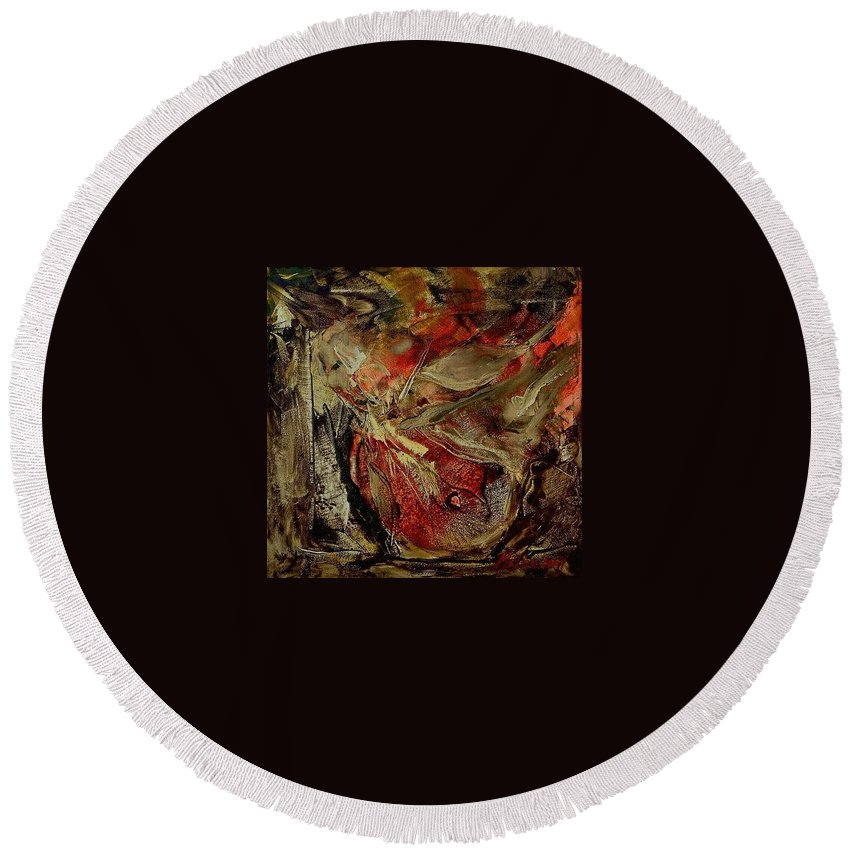 Abstract Round Beach Towel featuring the painting Passion  by Rome Matikonyte