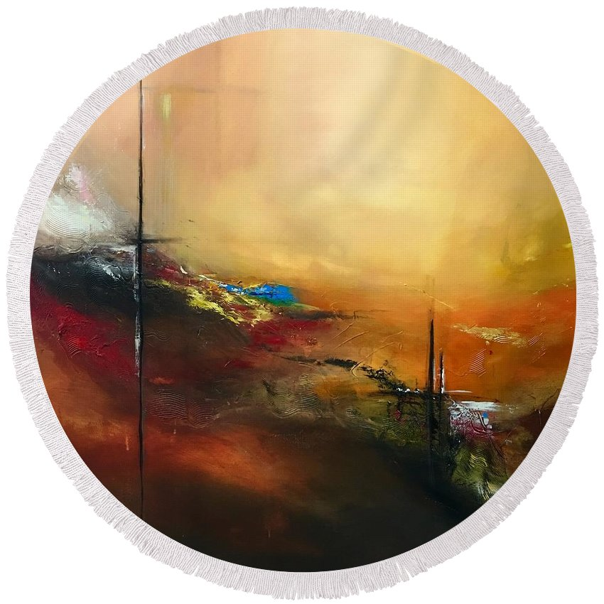 Abstract Round Beach Towel featuring the painting Passion by Aarti Bartake