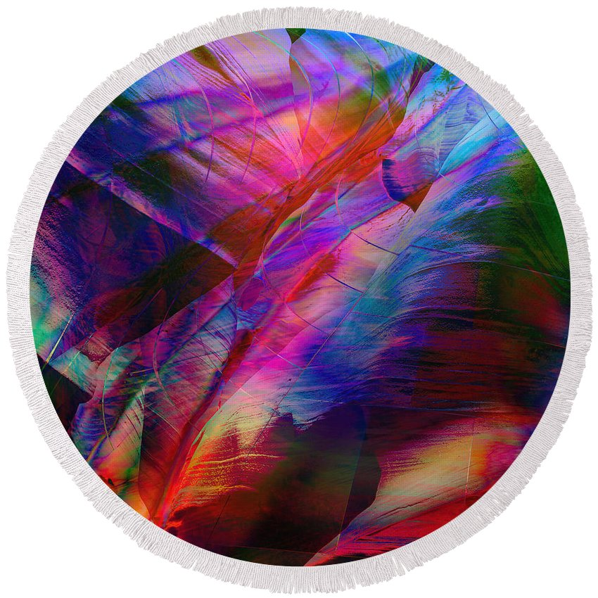 Abstract Round Beach Towel featuring the digital art Passion by Barbara Berney