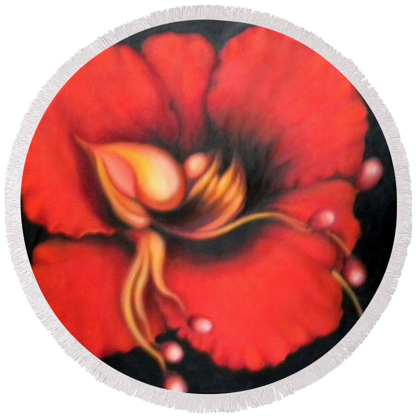 Red Surreal Bloom Artwork Round Beach Towel featuring the painting Passion Flower by Jordana Sands