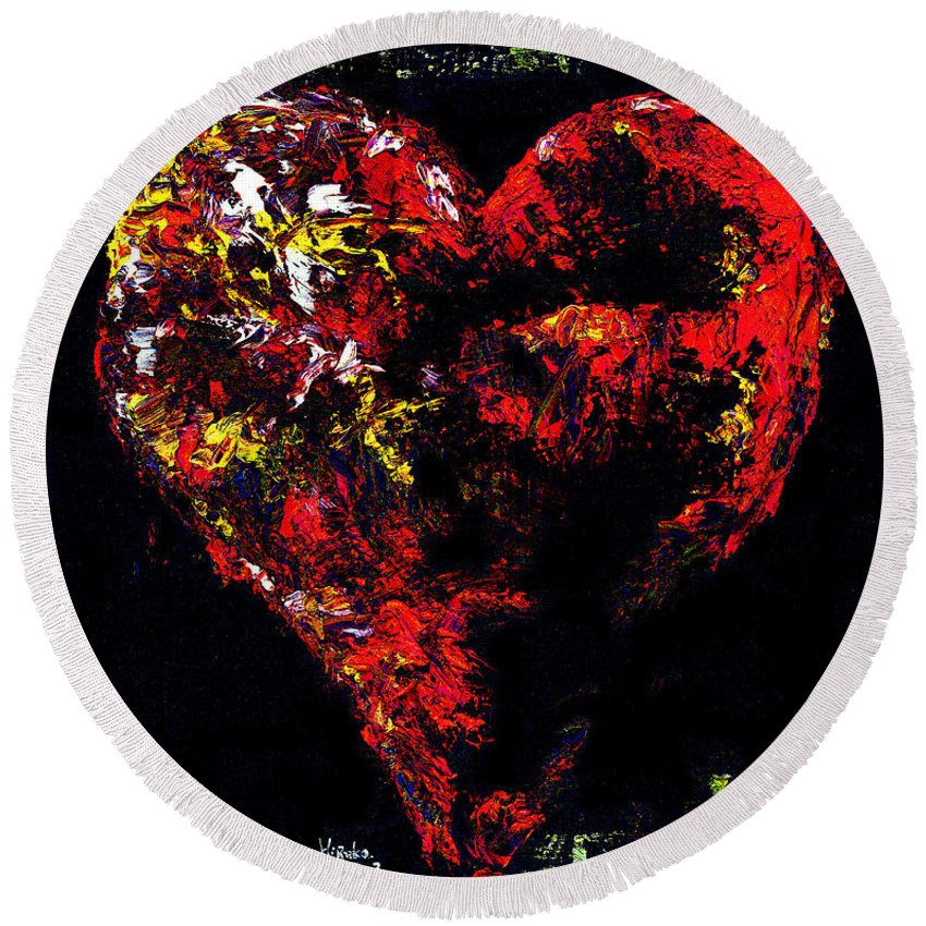 Heart Round Beach Towel featuring the painting Passion by Hiroko Sakai