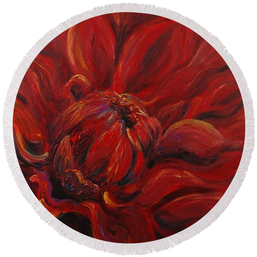 Red Round Beach Towel featuring the painting Passion II by Nadine Rippelmeyer