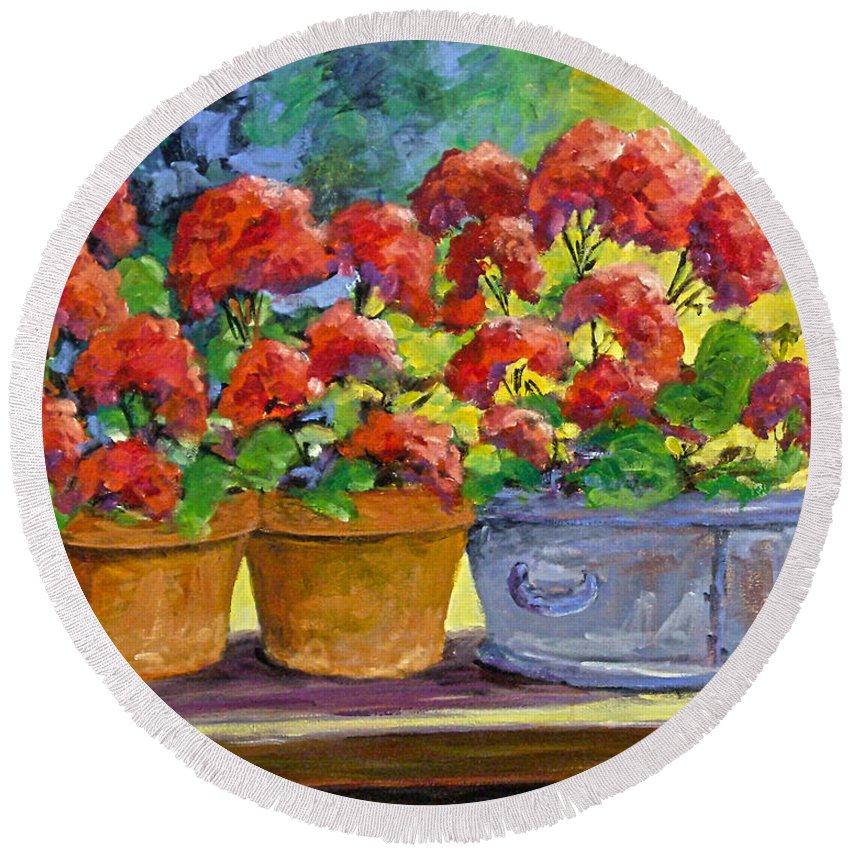 Still Life; Geraniums; Flowers; Terra Cotta; Red; Blue; Yellow; Green; Pranke; Round Beach Towel featuring the painting Passion In Red by Richard T Pranke