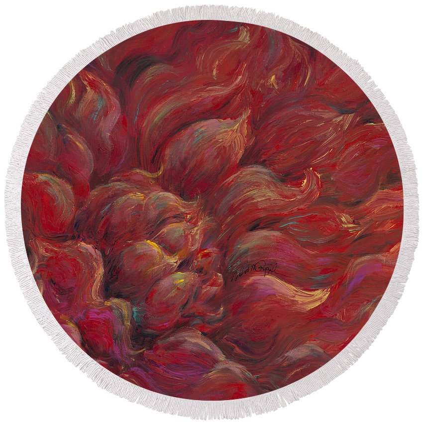 Red Round Beach Towel featuring the painting Passion V by Nadine Rippelmeyer