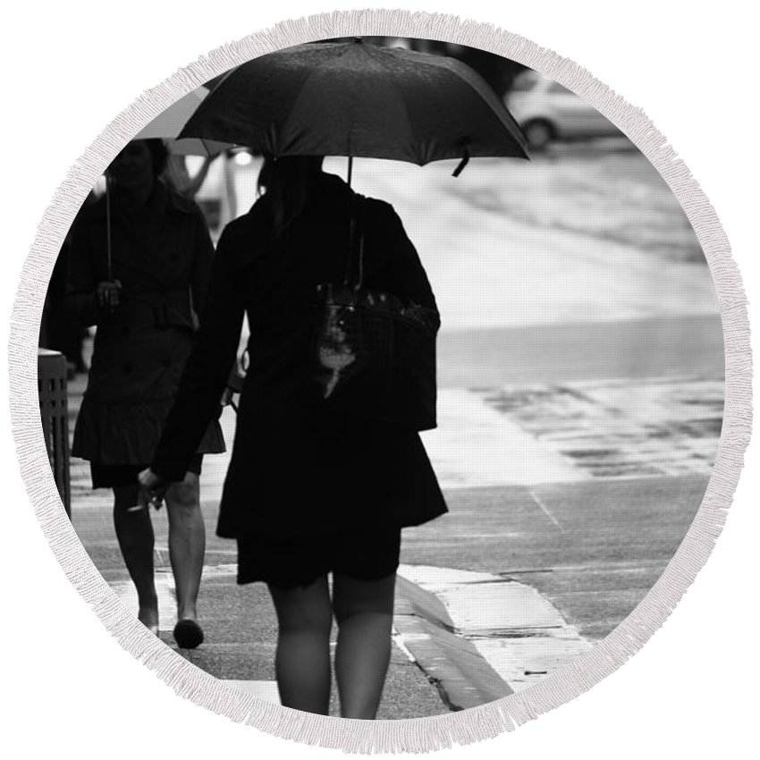 Street Photography Round Beach Towel featuring the photograph Past Is Near by The Artist Project