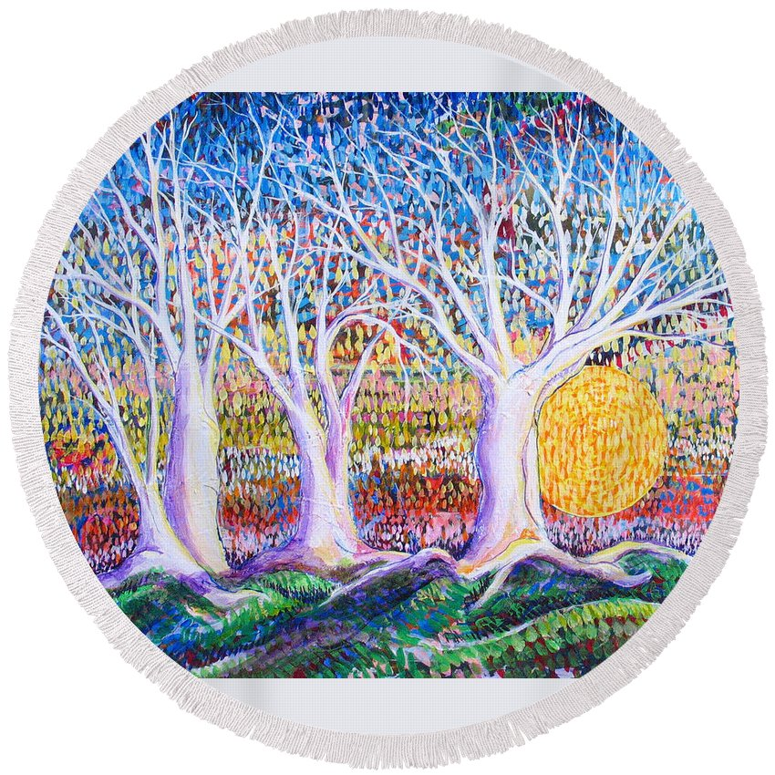 Landscape Round Beach Towel featuring the painting Past Present Future by Rollin Kocsis