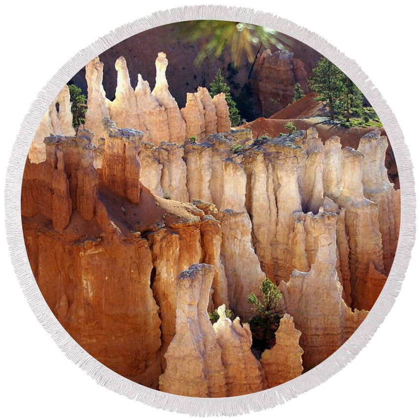 Bryce Canyon National Park Round Beach Towel featuring the photograph Pastel Bryce by Marty Koch