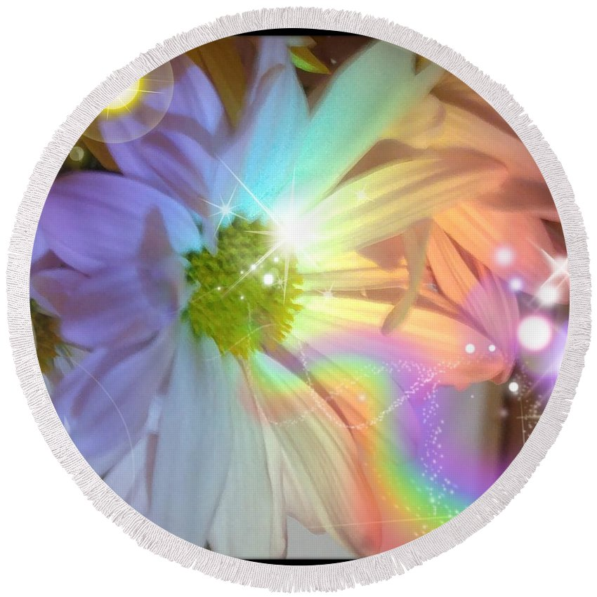 Daisy Round Beach Towel featuring the photograph Pastel Daisy Rainbow Universe by Karen Slafter