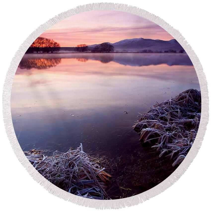 Lake Round Beach Towel featuring the photograph Pastel Dawn by Mike Dawson