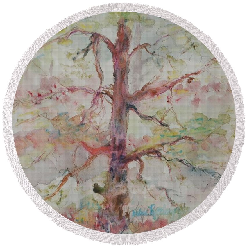 Forest Round Beach Towel featuring the painting Pastel Forest by Nadine Rippelmeyer
