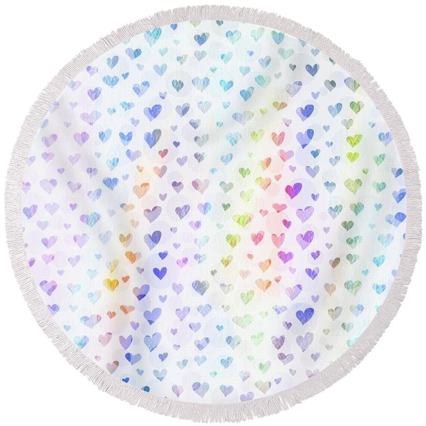 Hearts Round Beach Towel featuring the photograph Pastel Hearts by Sharon Johnston