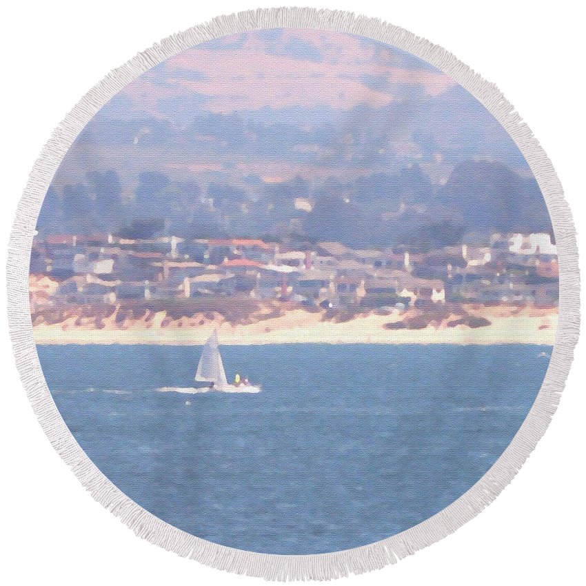 Sailing Round Beach Towel featuring the photograph Pastel Sail by Pharris Art