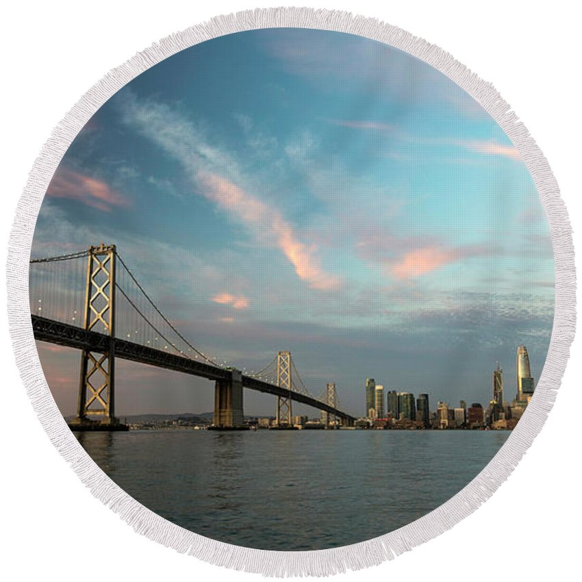 Salesforce Round Beach Towel featuring the photograph Pastel San Francisco Sunrise by Hugh Stickney