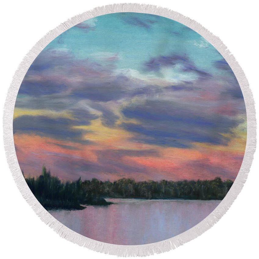 Landscape Round Beach Towel featuring the painting Pastel Sunset by Lynn Quinn