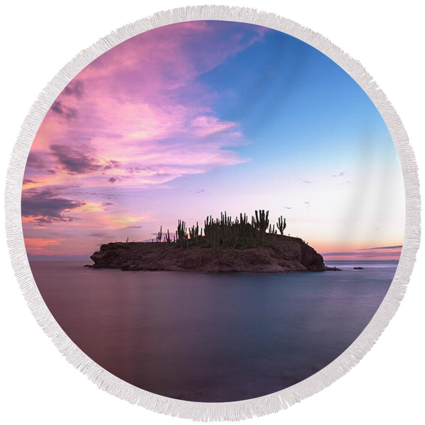 Sunset Round Beach Towel featuring the photograph Pastel Sunset by Sergio Muller