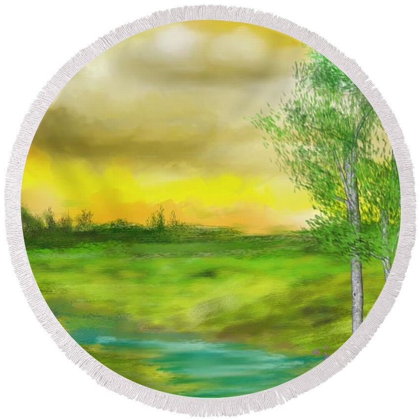 Landscape Round Beach Towel featuring the digital art Pastoral by David Lane