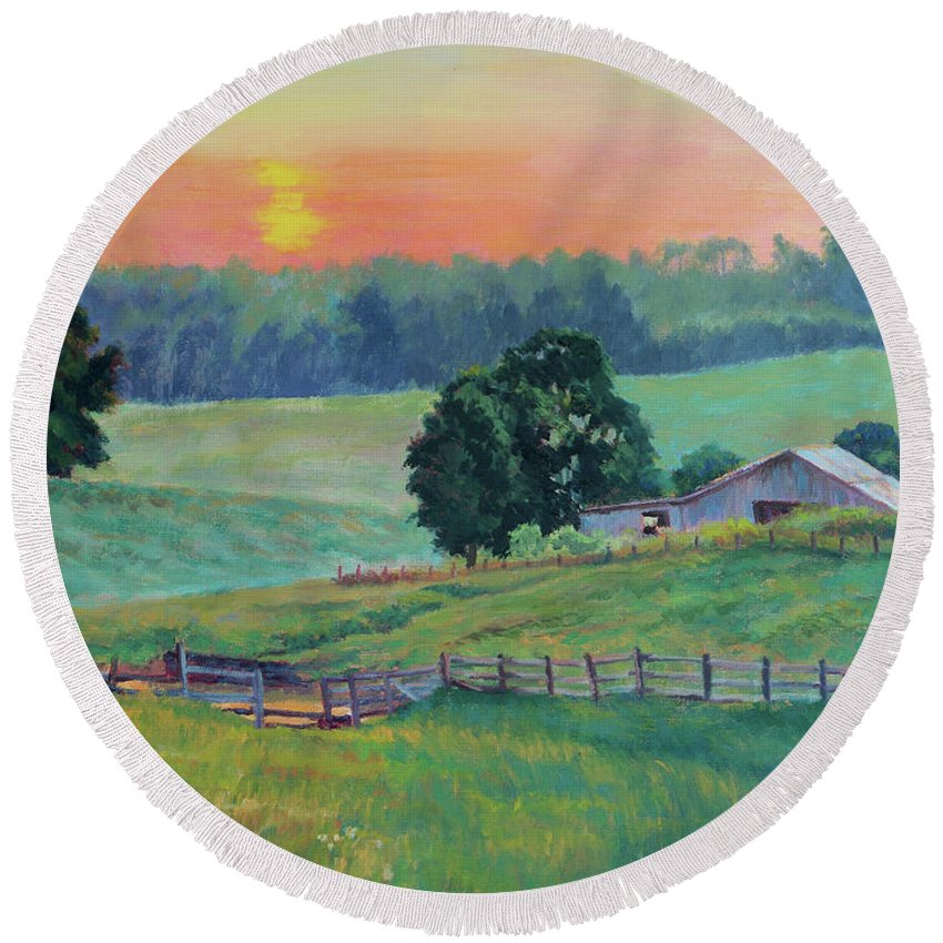 Impressionism Round Beach Towel featuring the painting Pastoral Sunset by Keith Burgess