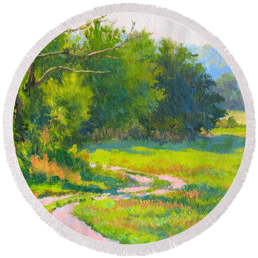 Landscape Round Beach Towel featuring the painting Pasture Road by Keith Burgess