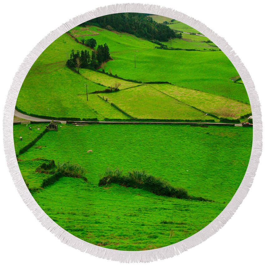 Dairy Round Beach Towel featuring the photograph Pastures In The Azores by Gaspar Avila