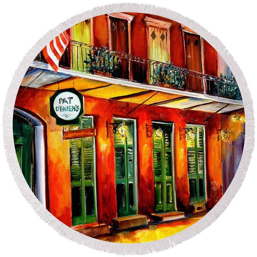New Orleans Paintings Round Beach Towel featuring the painting Pat O Briens Bar by Diane Millsap