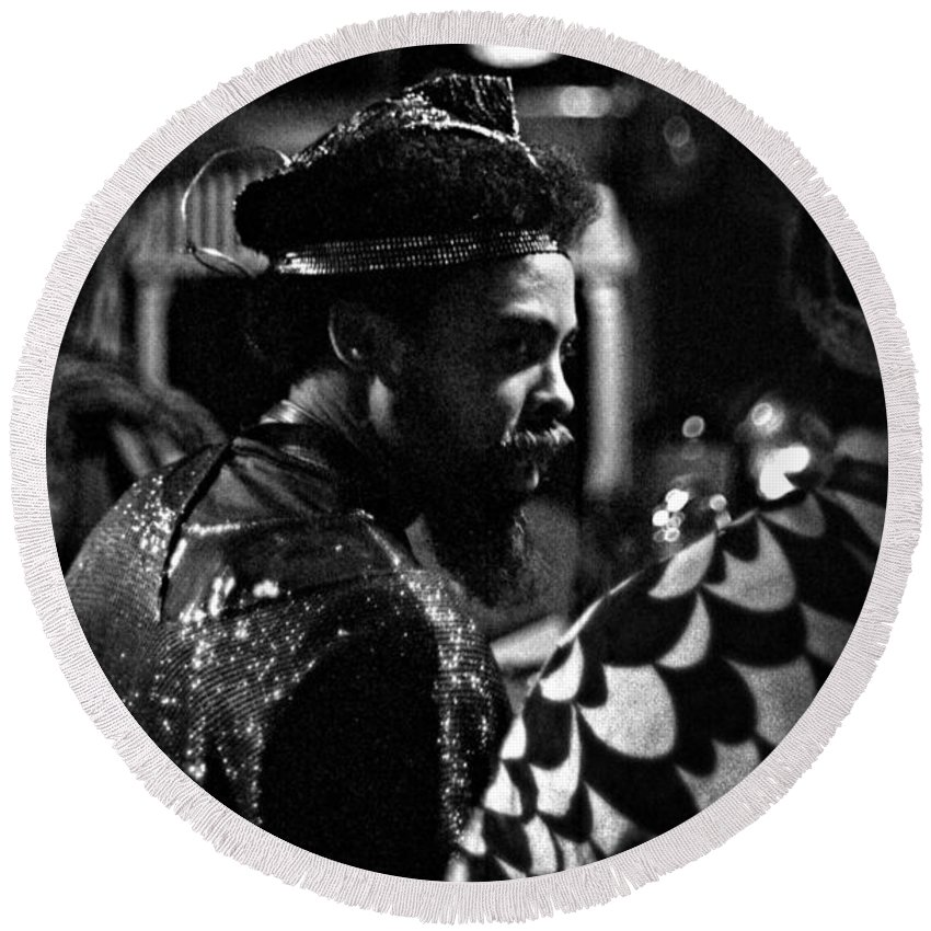 Sun Ra Arkestra At The Red Garter 1970 Nyc Round Beach Towel featuring the photograph Pat Patrick 2 by Lee Santa