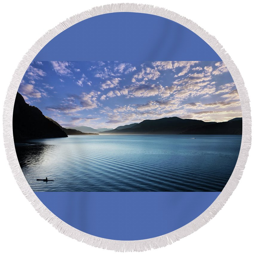 Patagonia Landscape Travel Nature Lake Round Beach Towel featuring the photograph Patagonia Landscape by Rodrigo Kaspary