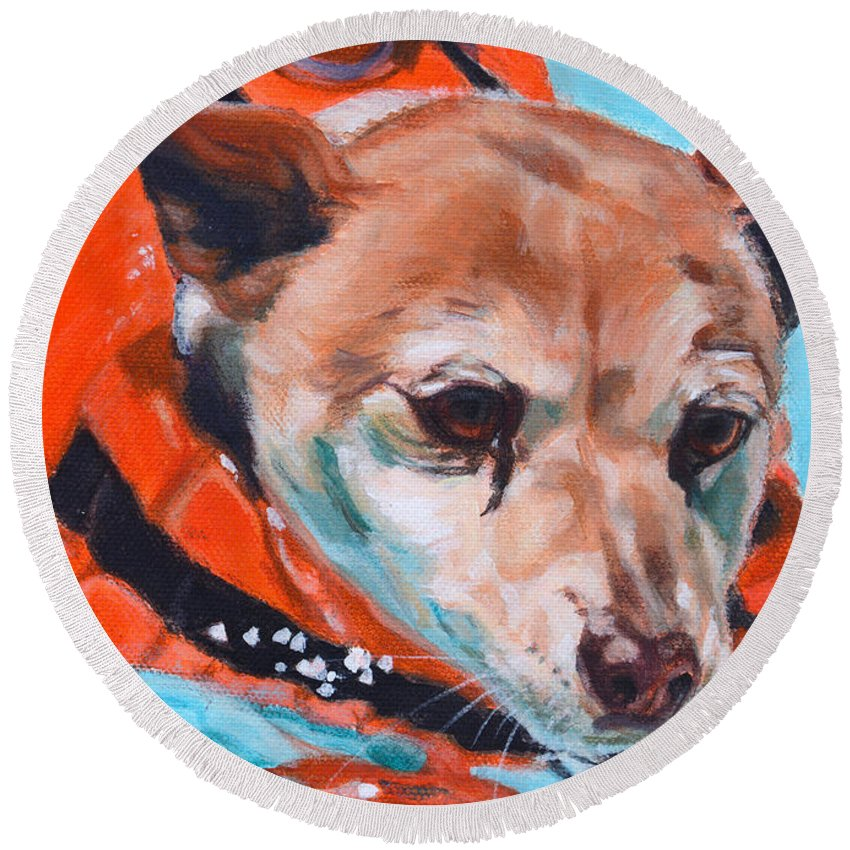 Jack Russell X Round Beach Towel featuring the painting Patch by Deborah Cullen