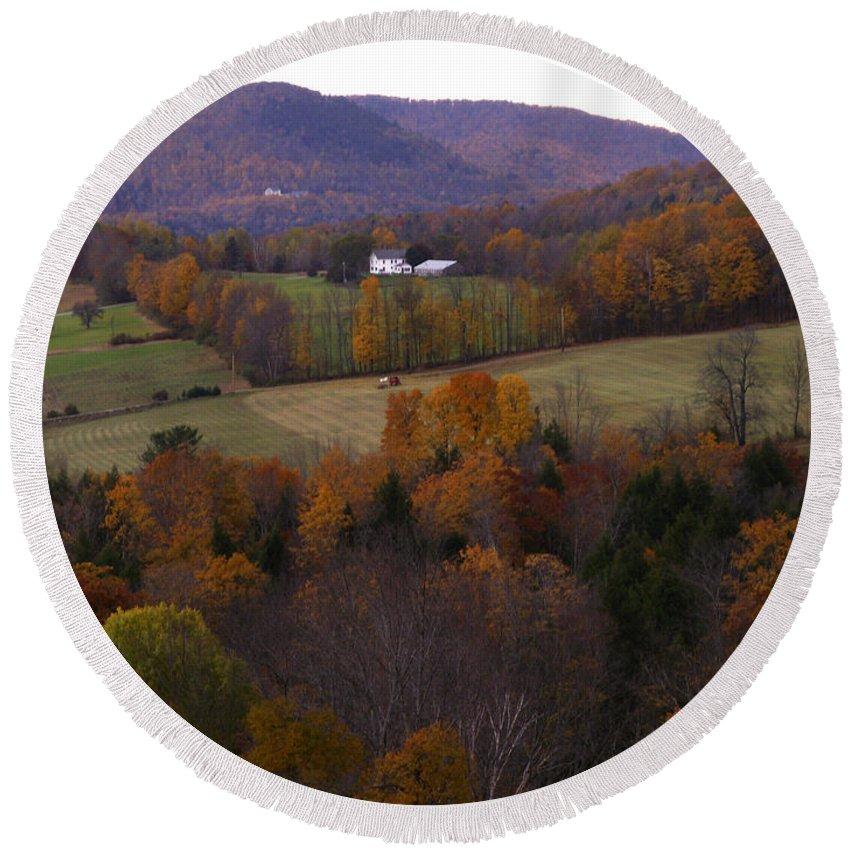 Vermont Round Beach Towel featuring the photograph Patch Worked Mountains In Vermont by Nancy Griswold