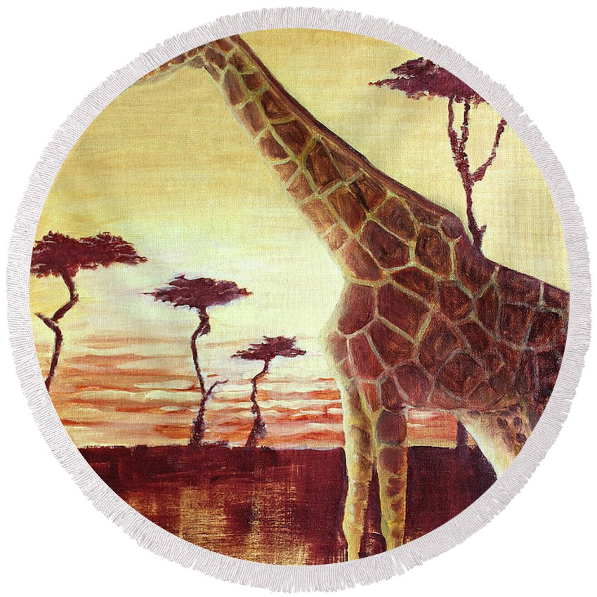 Animal Round Beach Towel featuring the painting Patches by Todd Blanchard