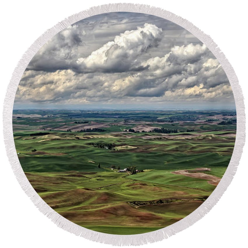 Patchwork Palouse Round Beach Towel featuring the photograph Patchwork Palouse by Wes and Dotty Weber
