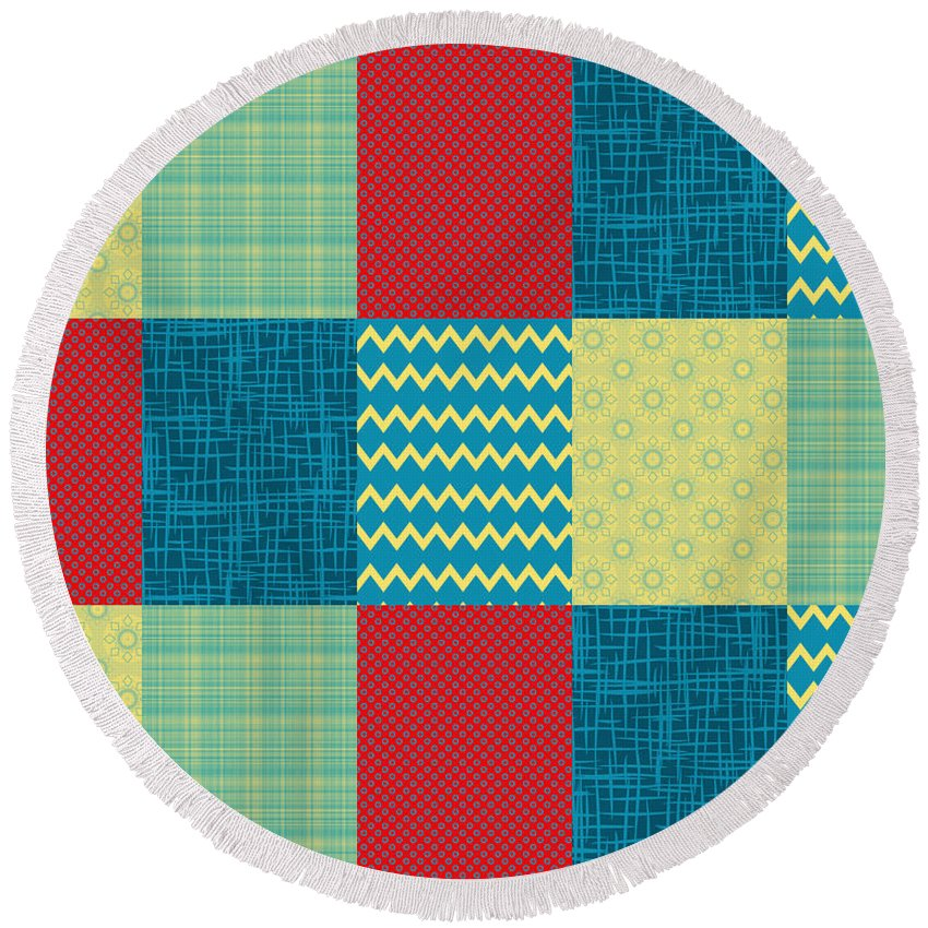 Patchwork Round Beach Towel featuring the digital art Patchwork Patterns - Muted Primary by Shawna Rowe