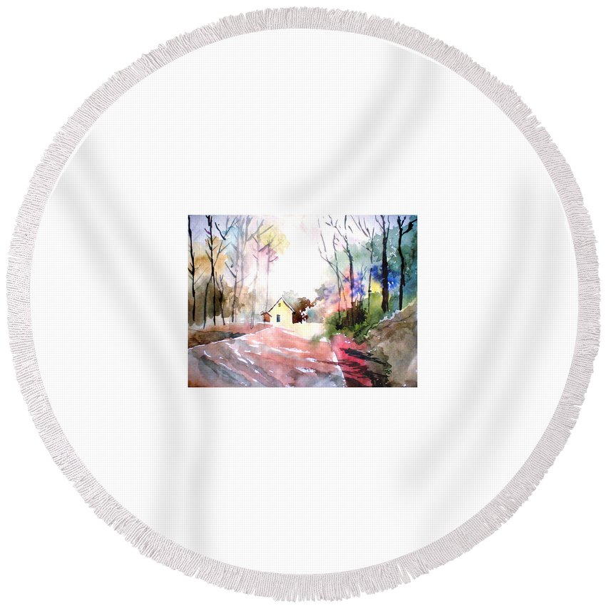 Nature Round Beach Towel featuring the painting Path In Colors by Anil Nene
