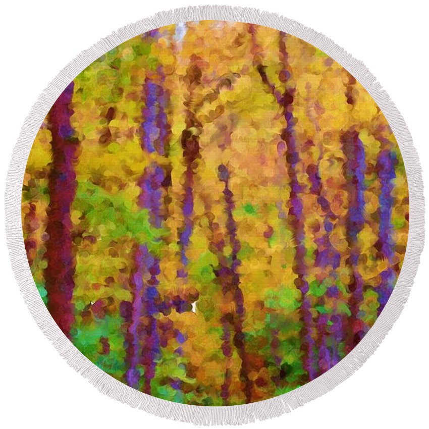 Digital Photograph Round Beach Towel featuring the photograph Path In The Woods by David Lane