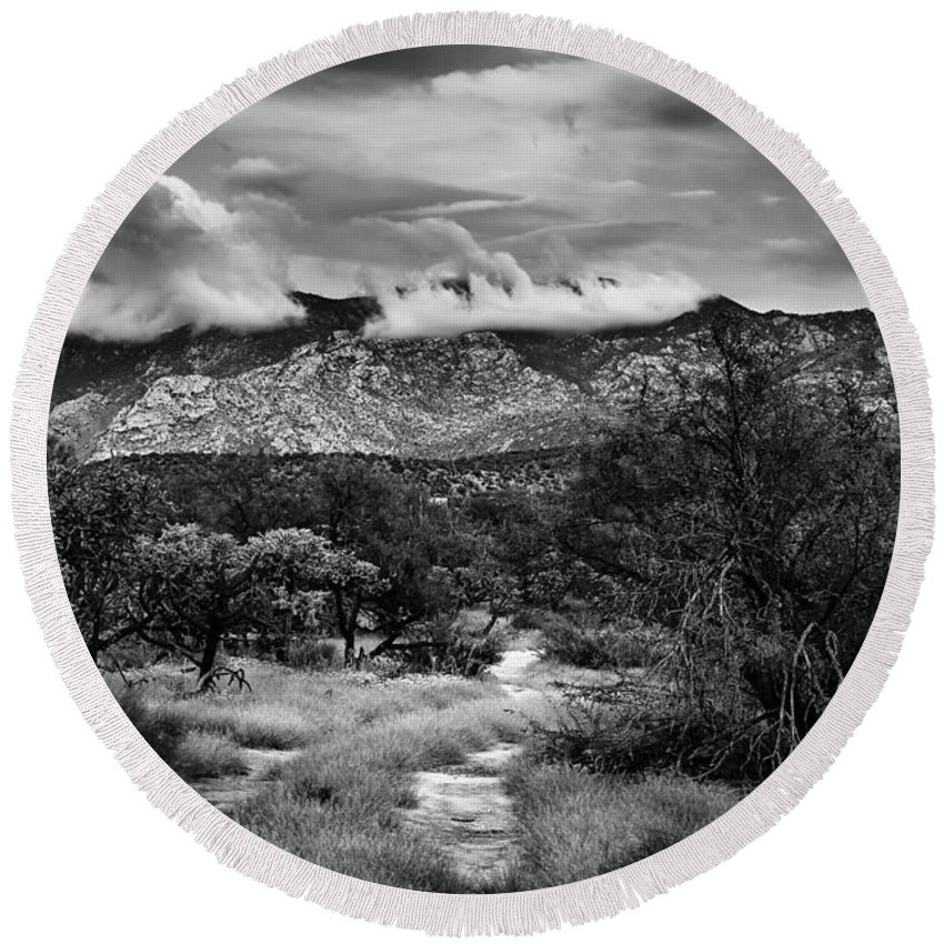 Oro Valley Round Beach Towel featuring the photograph Path Of Contradiction by Mark Myhaver
